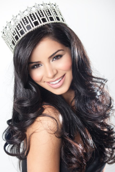 Rima Fakih, crowned Miss USA, poses for a picture.